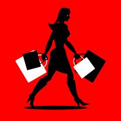 Junge Frau beim Einkaufen mit Einkaufstaschen