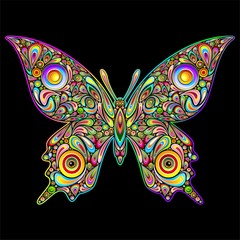 Butterfly Psychedelic Art Design-Farfalla Stile Psichedelico-
