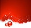 weihnachtlicher roter Hintergrund mit Kristbaumkugeln