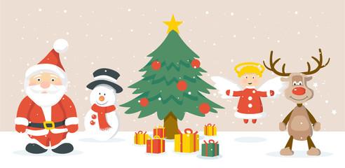 Weihnachtsmann, Weihnachtsbaum, Schneemann, Rudolph, Engel