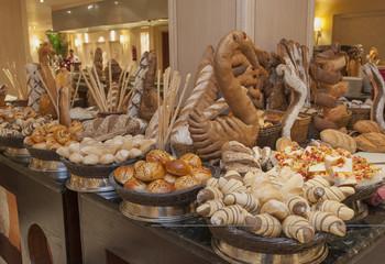 Bread display at a hotel buffet
