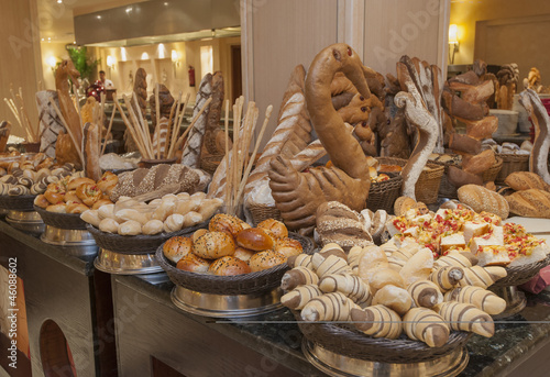 Bread display at a hotel buffet