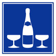 Señal botella de champan con copas