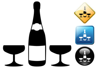 champagne bottle and glasses pictogram and icons