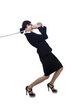 Going further-businesswoman pulling chain