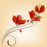Fototapety Romantic red flowers decoration in retro style