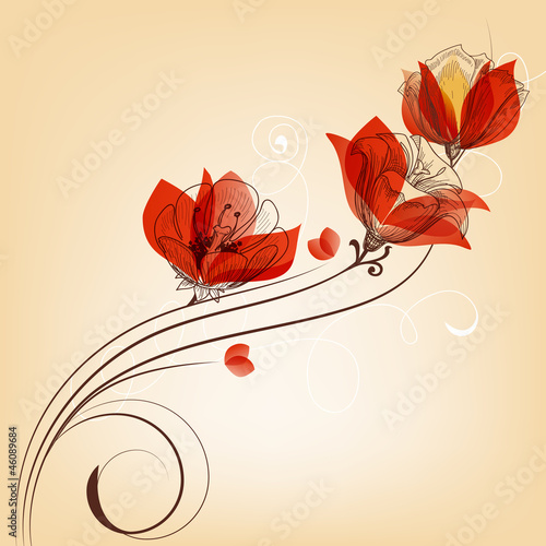 Tuinposter Abstract bloemen Romantic red flowers decoration in retro style