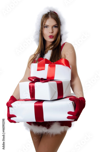 The Christmas girl with boxes of gifts isolated