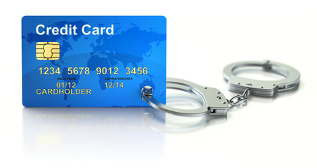 Credit card with handcuffs