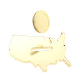 USA country shape as a moneybox with a golden coin