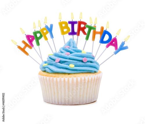 Leinwandbild Motiv Happy Birthday Cupcake