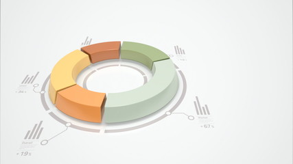 3d donut chart for business statistics