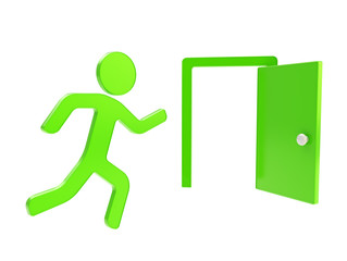 Quit, emergency exit icon emblem isolated