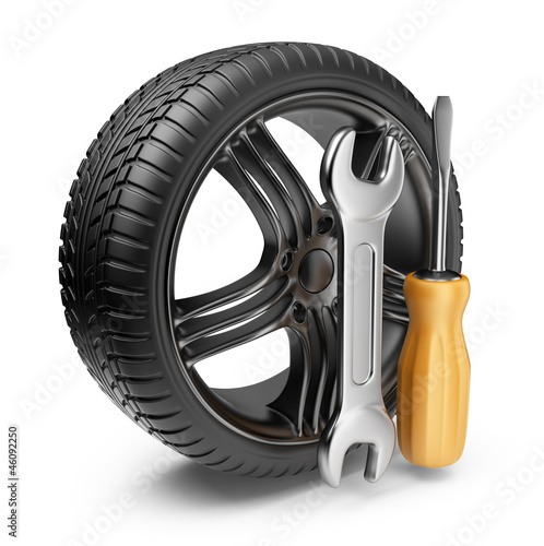 Wheel and tools. Car service. 3D Icon isolated on white backgrou