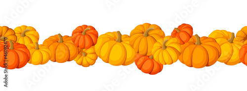 Horizontal seamless vector background with pumpkins.