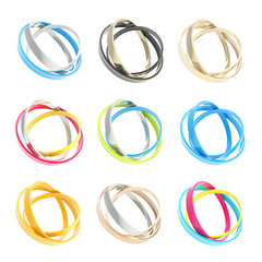 Nine copyspace round frames made of ring hoops