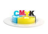 CMYK emblem icon over dish plate isolated