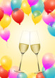Silvester mit Luftballons und Sekt