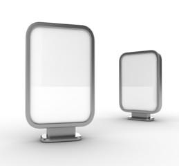 Three blank vertical billboards