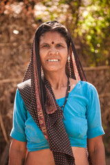 Middle age indian villager woman smiling