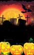 Evil Jack O Lanterns on a moon background