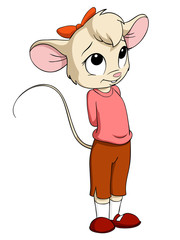 Cartoon little mouse female in pink blouse