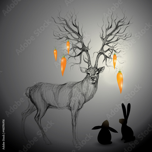 Deer with antlers like Tree / Rabbits look at carrots