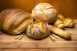 Still life with bread on the wood table