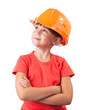 Little girl in the construction helmet
