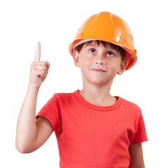 Girl in building helmet