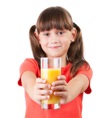 Little girl with juice in his outstretched hands
