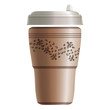 Paper coffee take away cup with ornament. Eps10