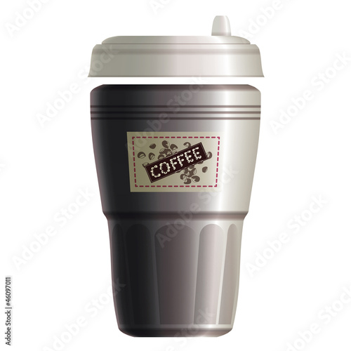 White paper coffee take away cup with label. Eps10