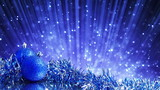 blue christmas balls and blinking particles loop