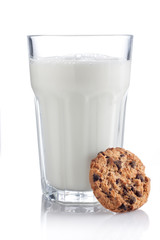 Glass of milk with cookies