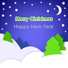 New Year's card on blue background with snow.