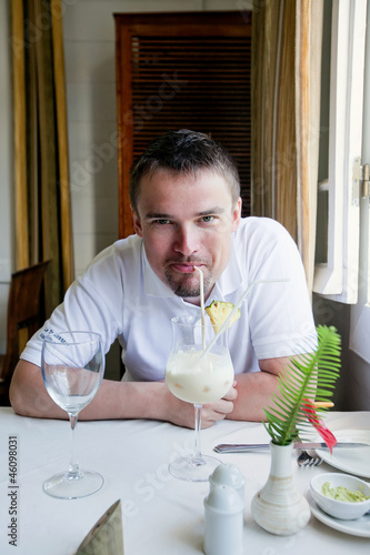 Man enjoying his cocktail