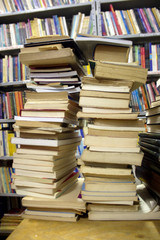 Piled books