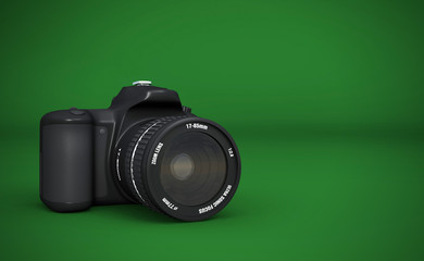 DSLR Vollformat - Digitale Spiegelreflexkamera Schwarz auf  Grün