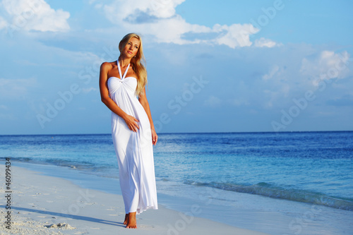 woman on the ocean coast