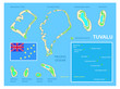 Tuvalu map and Flag