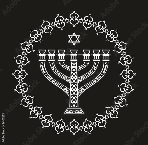Jewish religious vector background with menorah