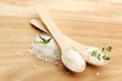 salt in spoons with fresh  rosemary and thyme