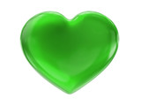 green heart on white bg