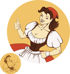Cute young beer girl in dirndl in pin-up retro style
