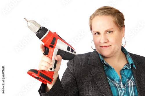 Handy housewife with electric drill
