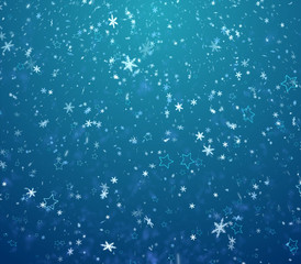 The winter background, falling snowflakes and stars