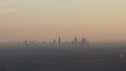 Downtown Atlanta in morning haze