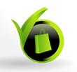 icône achat sur bouton vert et noir
