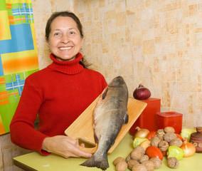 woman with salmon fish